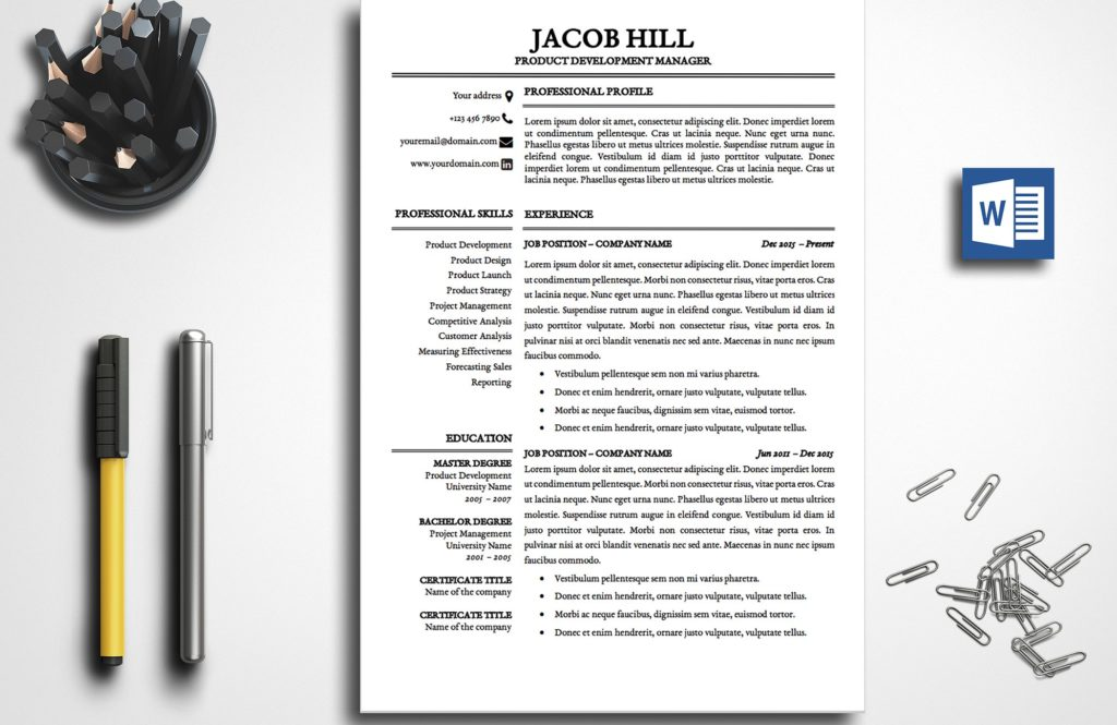 resume-template-jacob-hill-1-page-